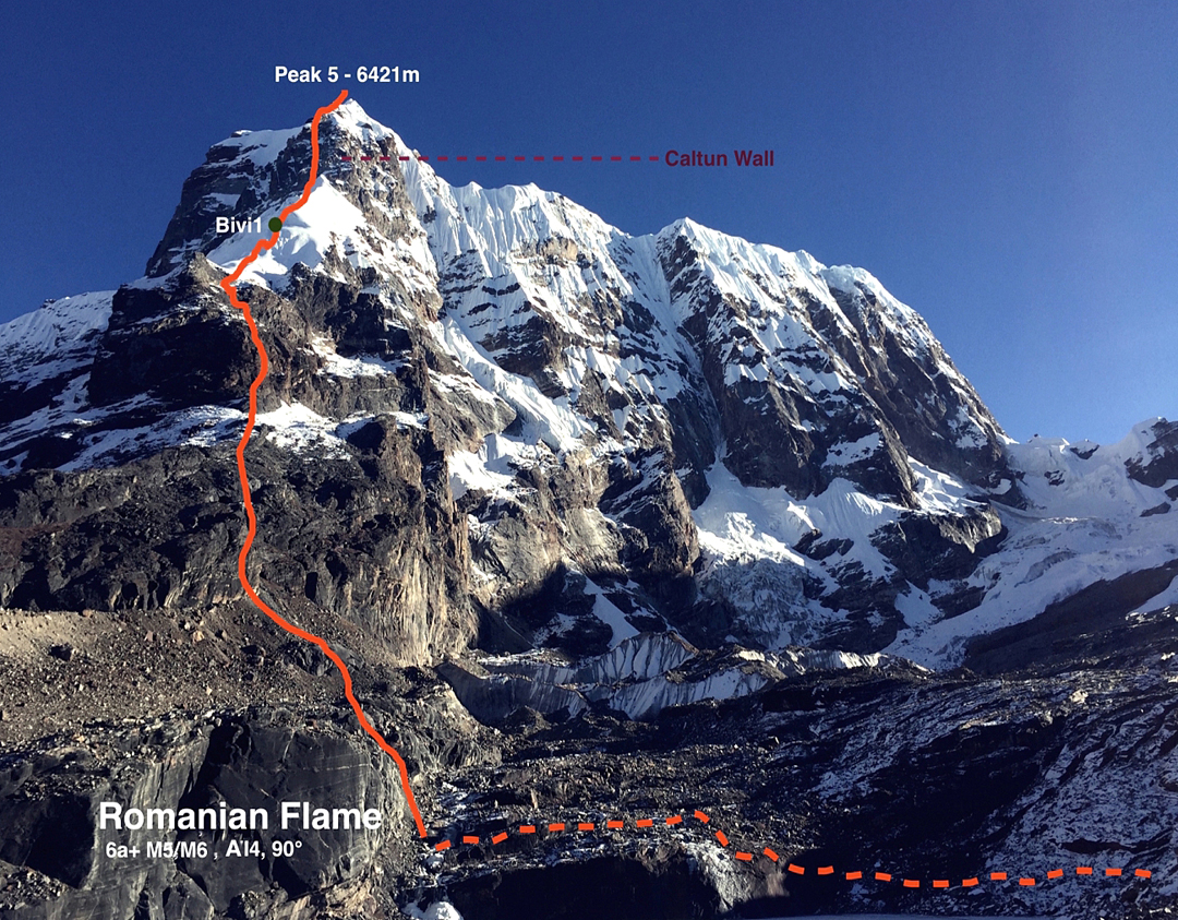 The southwest pillar of Peak 5 (a.k.a. Saldim or Saldim Ri, 6,421m GPS), climbed by Romanians Vlad Capusan and Zsolt Torok in 2016, as seen from their lakeside camp below the mountain.