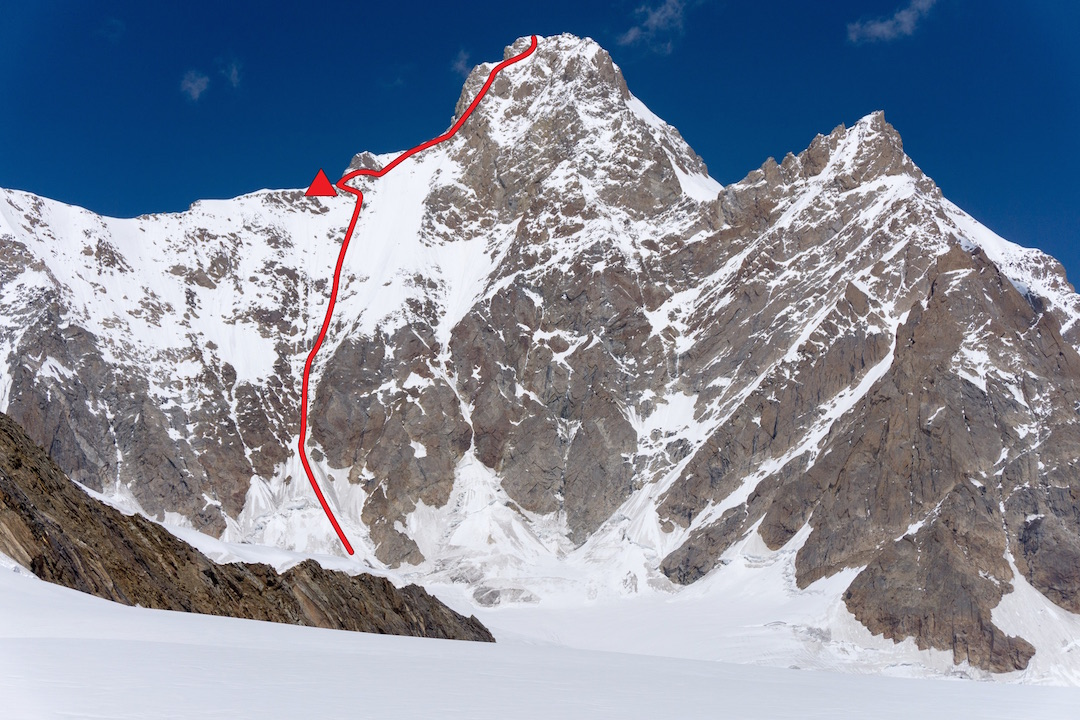 The south face of Brammah II (6,425m) and American route of ascent. On the first ascent of the mountain, in 1975, the Japanese climbed the entire left skyline ridge, approaching from the far side.