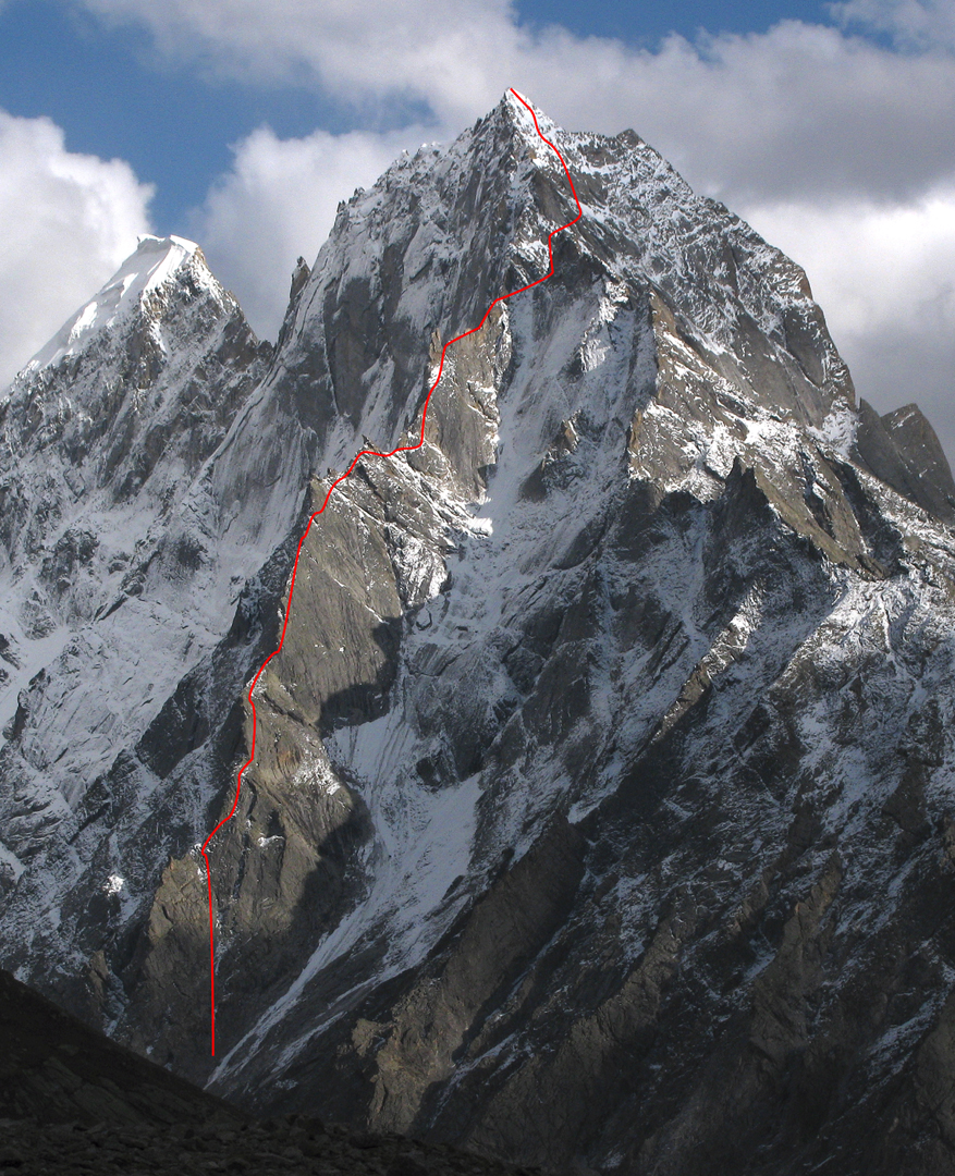 The line followed up the north spur of Marikula Killa for the first ascent of the peak.