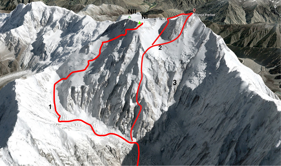 A Google Earth image of Nanga Parbat. (1) The 2008 Austrian attempt on the northwest face, reaching a high point of 7,760m. This line was previously attempted by two other teams; it was subsequently followed in three winter attempts, starting in 2012. (2) The standard Kinshofer Route (the upper exit along the ridge is the original 1962 route, while the lower, more direct route to the summit is the line normally followed today). (3) The Mummery Rib. (NI) North Summit (7,815m). (NII) North Summit II (7,785m).