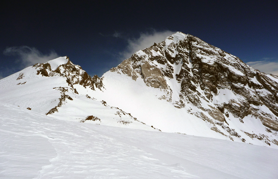 Nanga Parbat foresummit on left and main summit right, from just below the point where the Austrians retreated in 2008 due to incoming bad weather.
