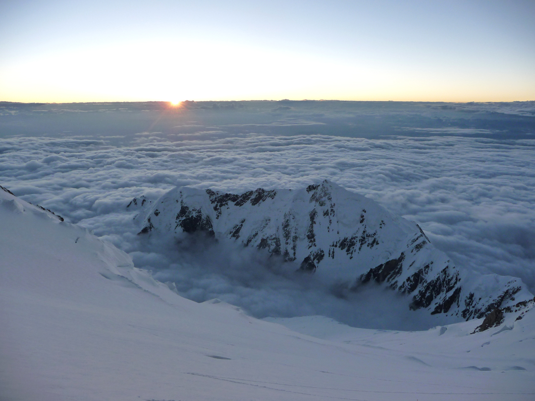 Sunset and Ganalo Peak from high on the northwest face of Nanga Parbat.
