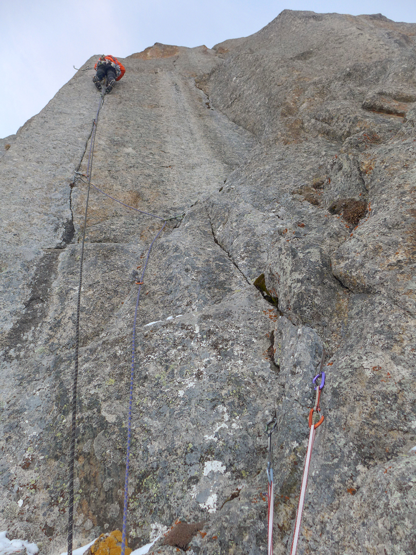 On the second day of the ascent of the central buttress of the northwest face of Chon-tor.