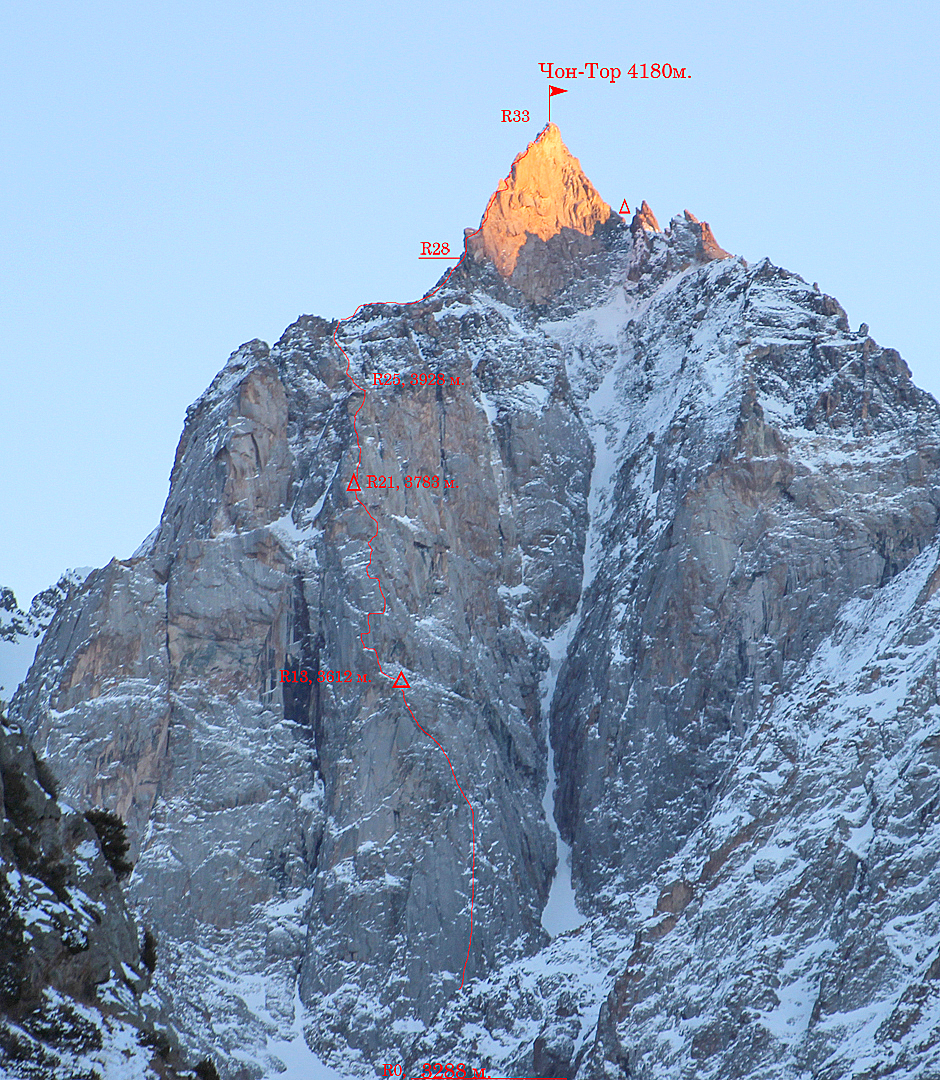 Details of the new route Spirit of Adventure on Chon-Tor's northwest face.