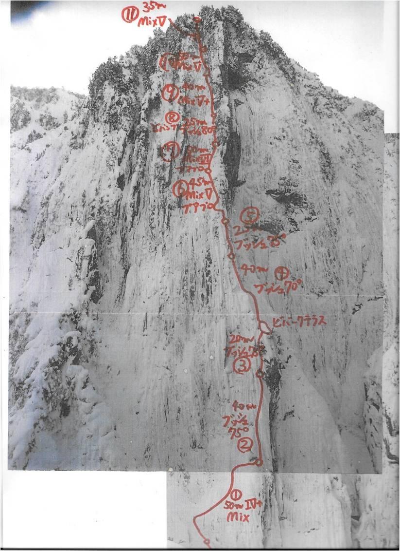 Photo-topo of the Kurobe Golden Pillar.