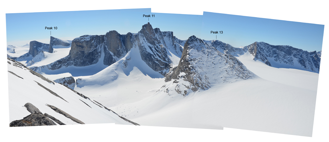Panorama from high on the unsuccessful attempt of Peak 1,440m looking south to Peaks 10, 11, and 13.
