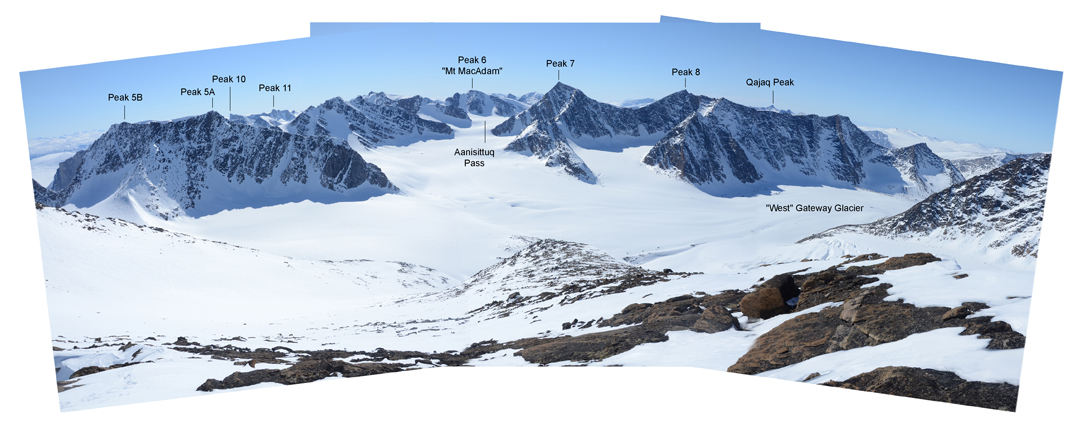 Panorama from Peak 4, looking south into the heart of the area explored by the 2016 team. In all they traveled 225 kilometers and climbed 15 peaks.