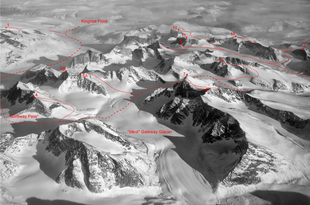 Aerial view of the 2016 team's route into and around the Gateway Glacier complex.