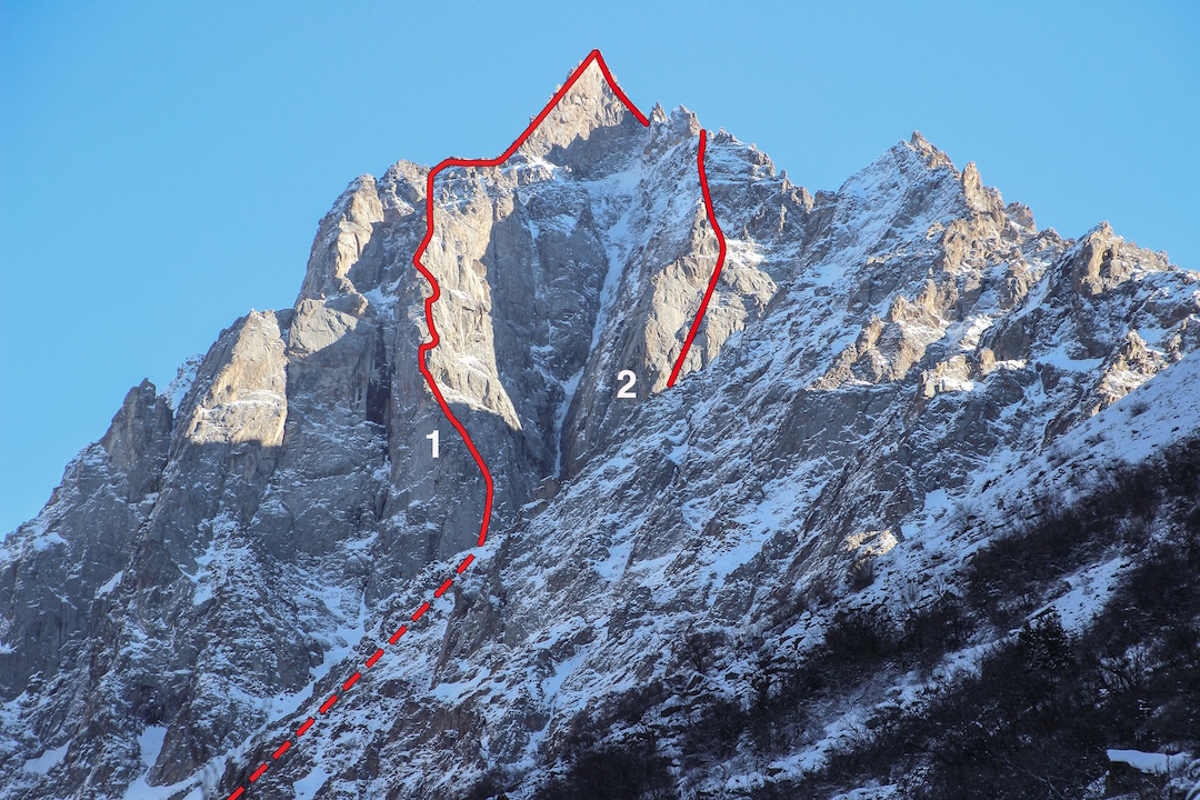 The northwest face of Chon-tor. (1) Spirit of Adventure. (2) Glazunov Route.