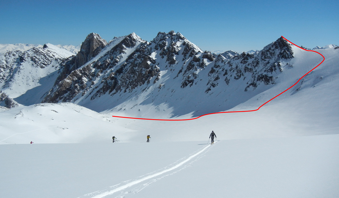 "Approaching the head of the Kok-Moinok Glacier basin with the route taken to Choku Bocia. The prominent and unclimbed rock tower to the left is at 41°5'29.23""N, 76°5'18.41""E."