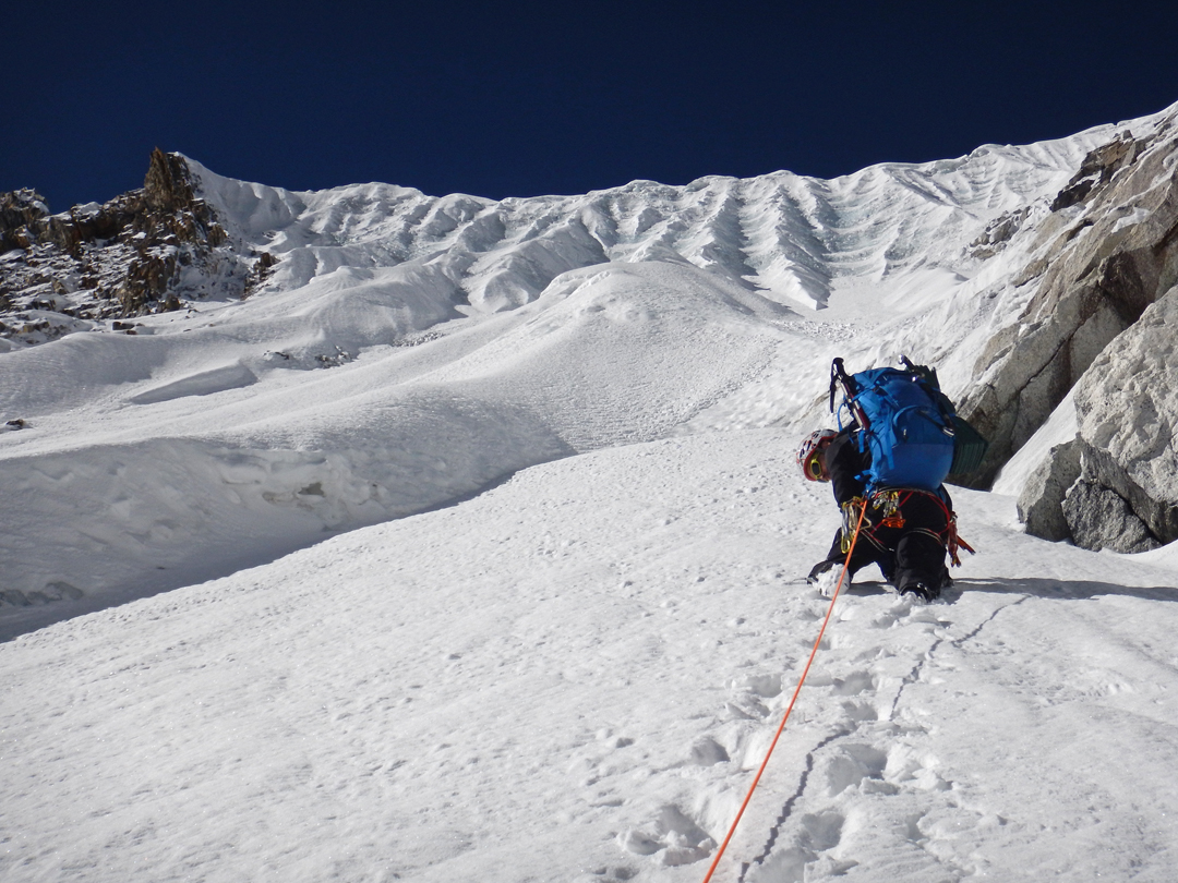 Heading toward the fluted section of the north face of Peak 6,010m.
