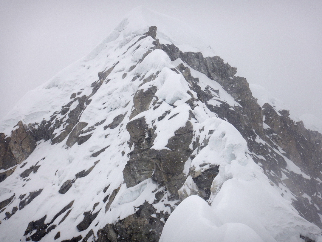 The summit ridge of Peak 6,010m, where Angel Salamanca fell into a concealed crevasse.