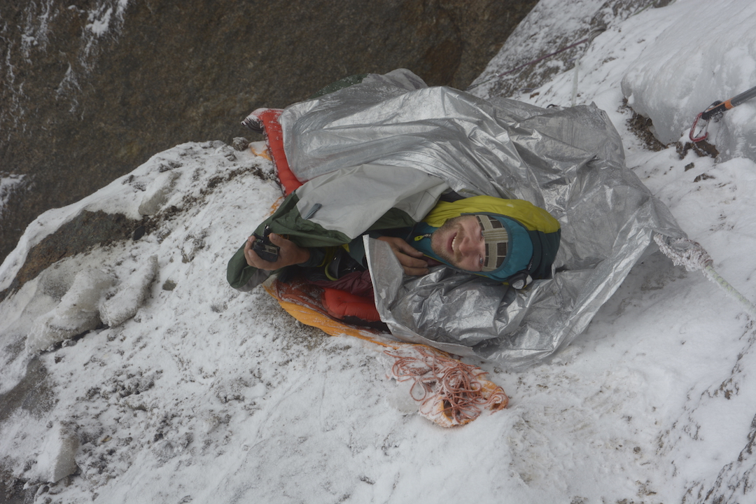 The wet bivouac during the descent.