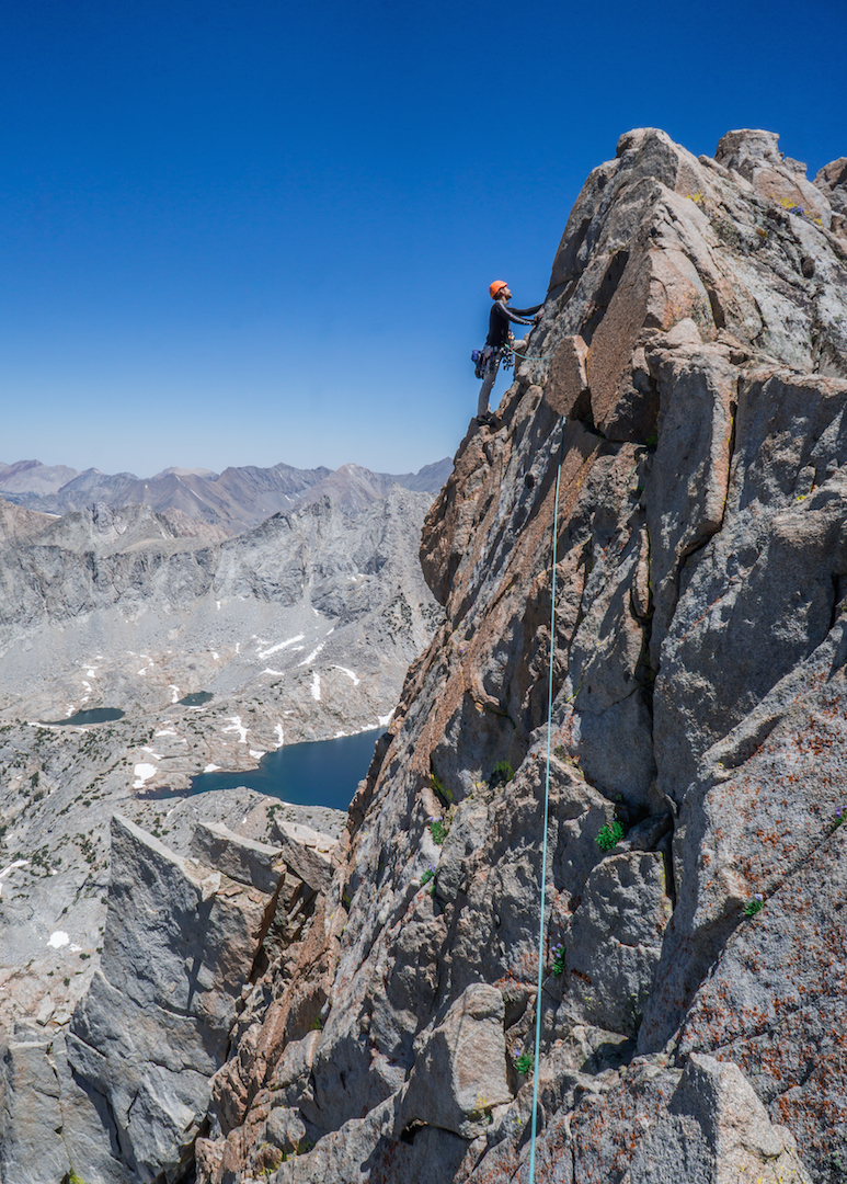 Chaz Langelier on the summit ridge of Mt. Gardiner, completing the new route Polemonium.