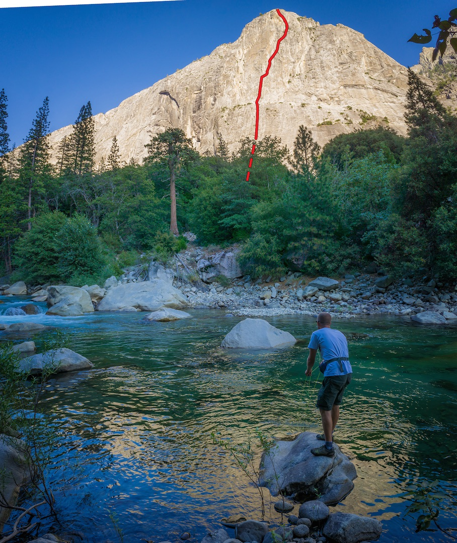 Daniel Jeffcoach fishing in the Middle Fork of the King River, below the Watsi Wall. The approximate line of Infinity Pool (21 pitches, VI 5.11+ R A2+) is shown.