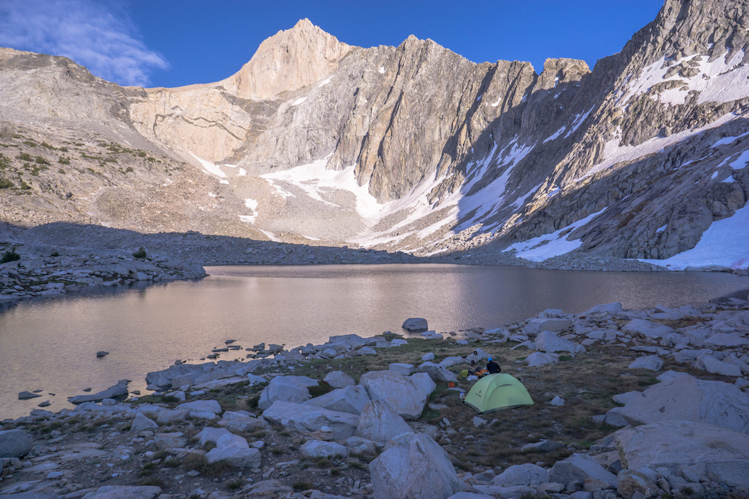 The northwest side of Mt. Clarence King (12,905'). The Dreamer (V 5.11) follows the prominent gray streak to the foot of the headwall, then climbs directly to the summit. Chaz Langelier and Vitaliy Musiyenko found bail anchors up to about the halfway point on the 1,500-foot face, but their line from July 2016 is likely the first complete route.
