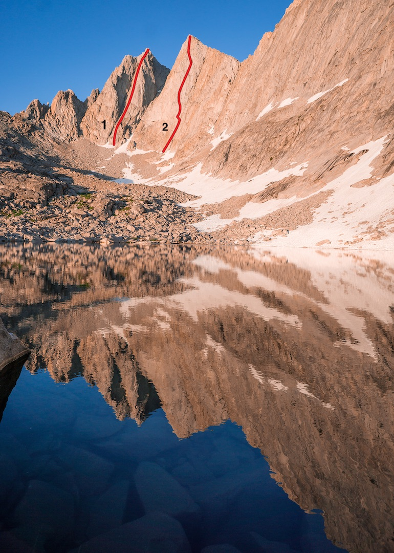 """The northwest side of Mt. Gardiner (12,907', left), showing the new routes from July 2016. (1) Polemonium (1,500', IV 5.10-) on the """"Golden Bear Tower."""" (2) Vermillion Pt. 1 (1,300', IV 5.11- R/X)."""