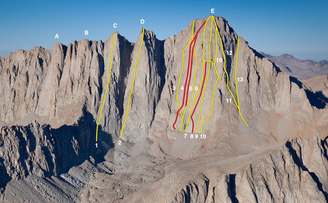 The east face of the Mt. Whitney group, with the 2016 routes in red. (A) Aiguille Extra. (B) Third Needle. (C) Crooks Peak (Day Needle). (1) Beckey Route. (D) Keeler Needle. (2) Harding Route. (E) Mt. Whitney. (3) If At First. (4) Inyo Face. (5) The Uncertainty Principle. (6) Left Wing Extremist. (7) Direct East Face. (8) Happy to Be Here. (9) Hairline. (10) Great Book. (11) East Face. (12) Sunshine-Peewee (East Buttress). (13) Mountaineer's Route. All lines approximate.