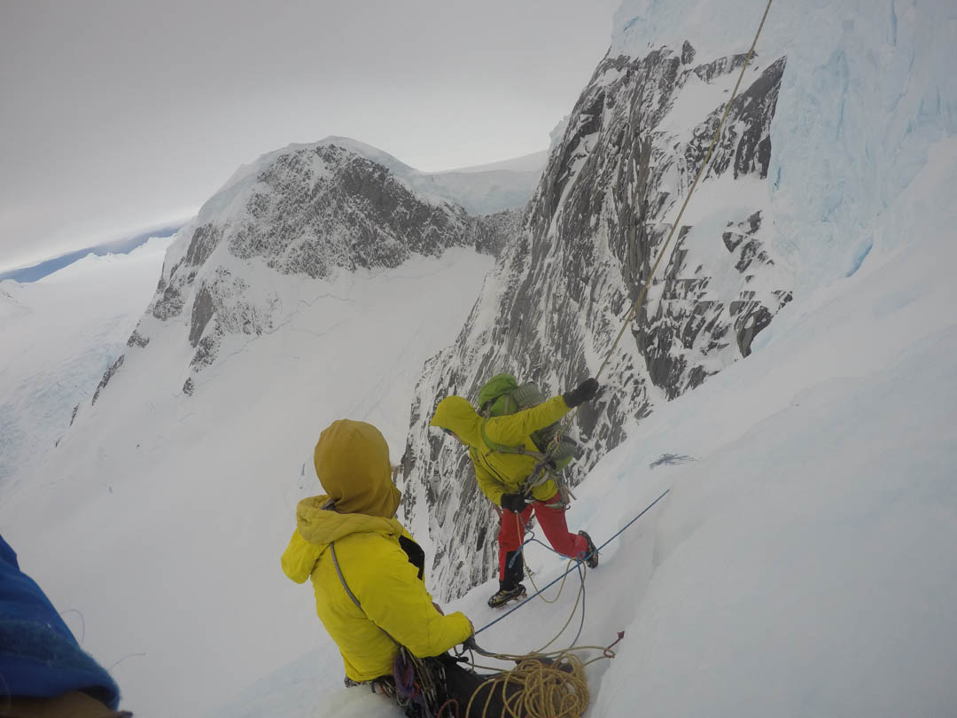Unable to find the easy walk down, the climbers rappelled the south face under huge seracs. They estimated they would need three or four rappels but instead made ten.
