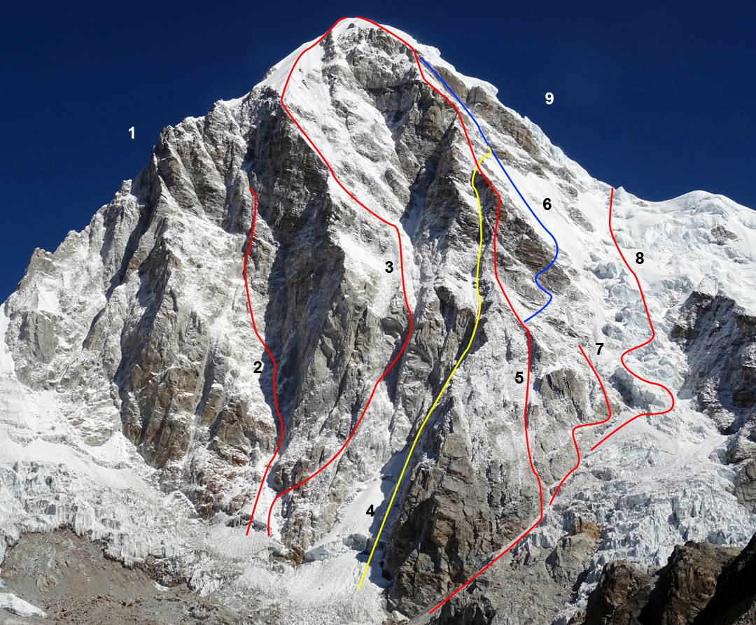 South face of Pumori (7,148m), showing (1) Southwest ridge, Japanese 1973; (2) Romanian attempt, 2017; (3) Scottish Route, 1986; (4) Czech Route, 1996; (5) French Route, 1972; (6) Jeff Lowe, solo, winter 1983; (7) British attempt, 1996; (8) Australian-American-Nepalese Route, 1984; and (9) normal (original) route, German-Swiss, 1962.