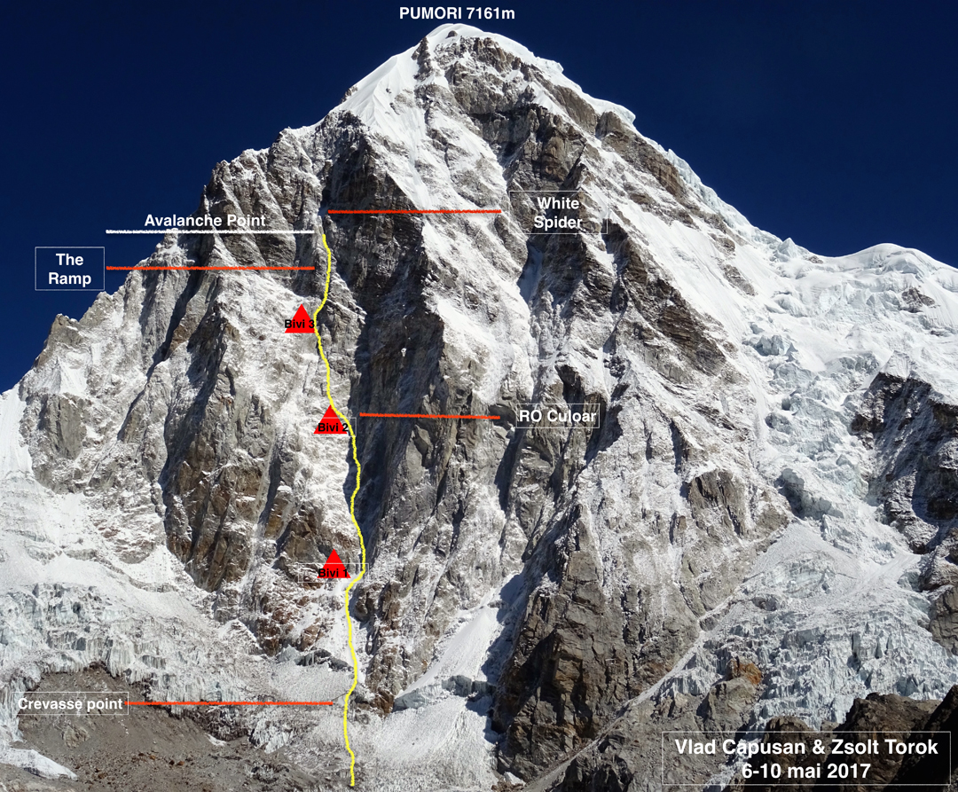 The 2017 Romanian attempt on the south face of Pumori, showing their bivouacs and other landmarks.