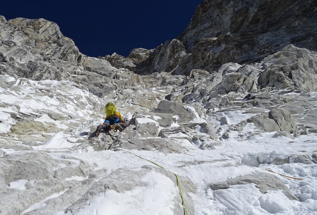 Vlad Capusan at around 6,300m on the second day of an attempted new route on the south face of Pumori.