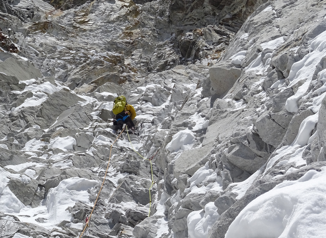 Vlad Capusan on mixed ground at around 6,500m, below the third bivouac on the south face of Pumori.