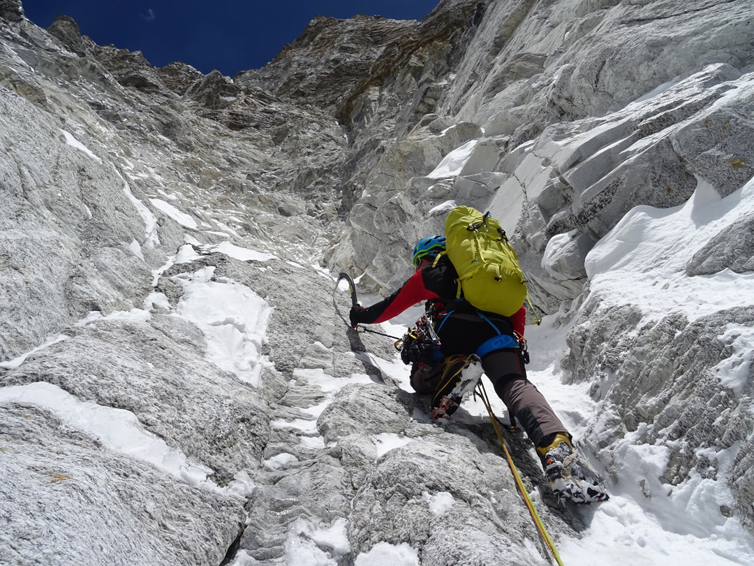 Vlad Capusan starting up the couloir above the first bivouac on the south face of Pumori.
