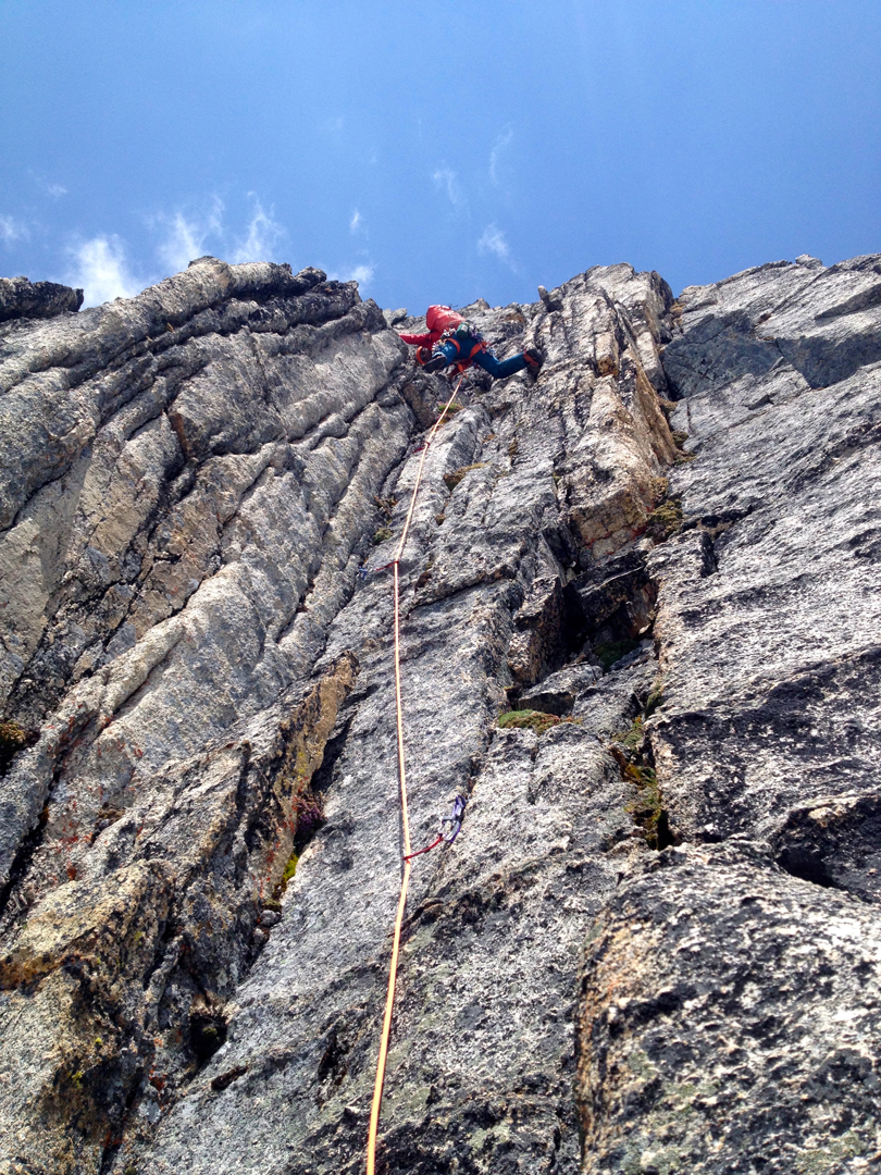 Alex Geary on the fifth pitch of the new route on the south face of Mt. Proteus: The B-Team (500m, TD- 5.10a).