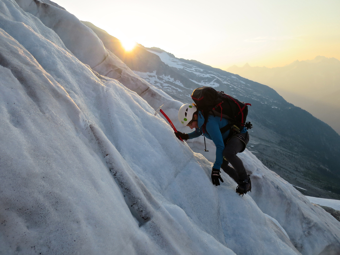 Madeleine Martin-Preney on the glacier approach to the south face of Mt. Proteus.