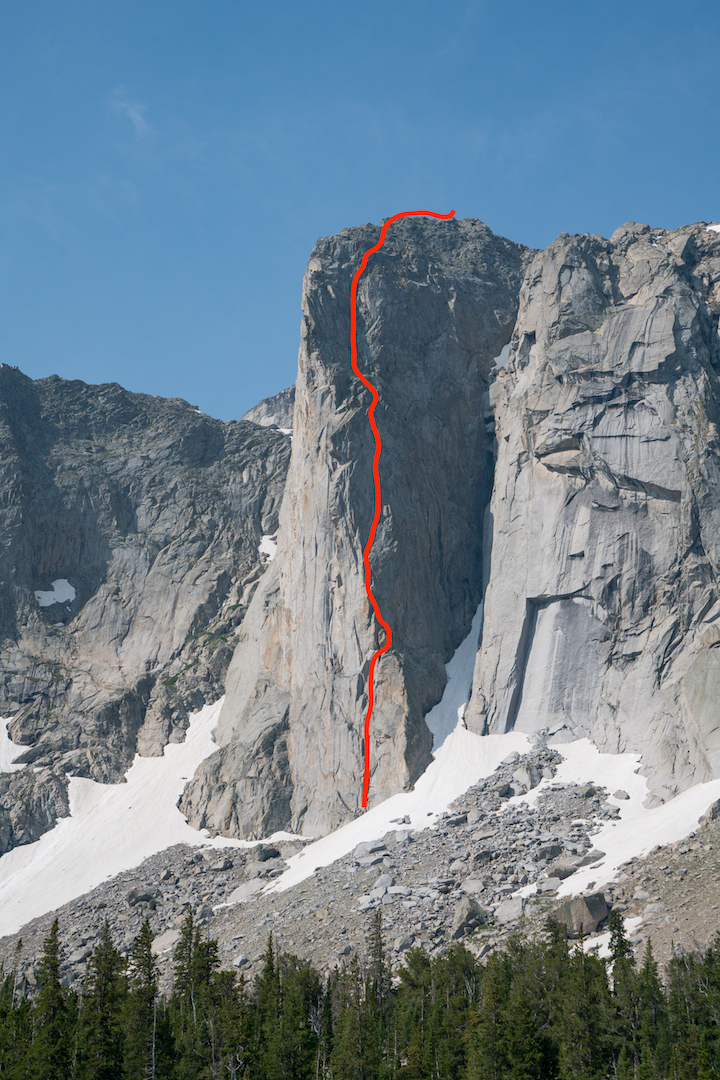 The Dogtooth Pinnacle, showing the line of Once Bitten (III/IV 5.10). The 1,500' route is the first reported ascent on the formation.