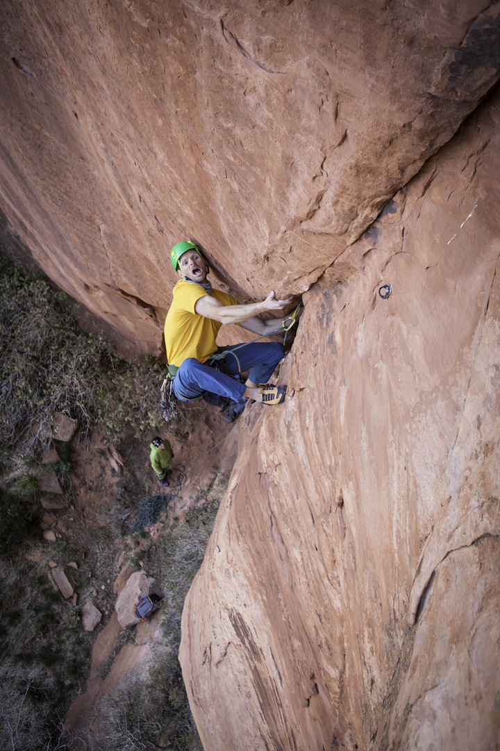 Rob Pizem moving past a technical, bolt-protected crux on pitch one of Juj Monster (5.12). He and Mike Brumbaugh aided the route ground-up in March 2017 and returned in April to make a complete free ascent.