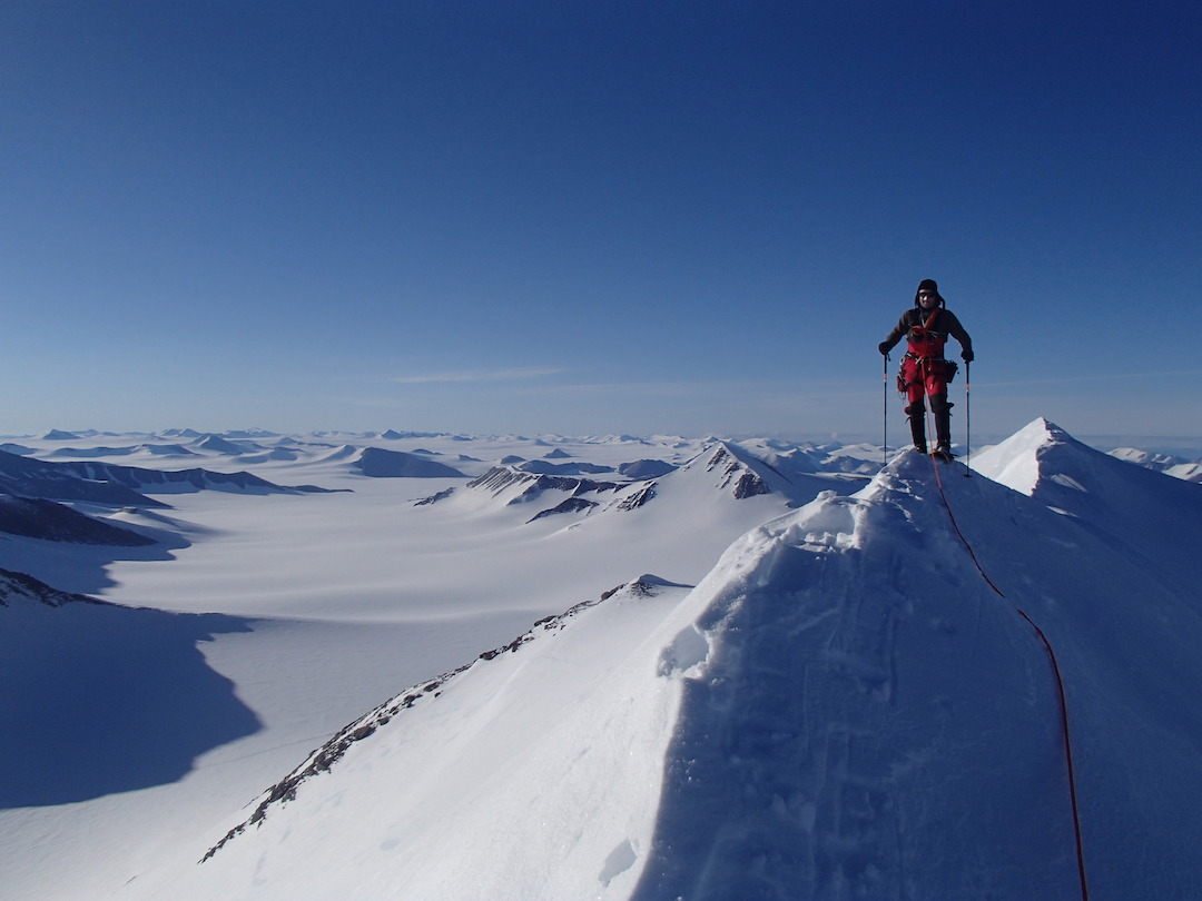 Brian Friedrich traversing the previously unclimbed east ridge of Griper (2,417m).