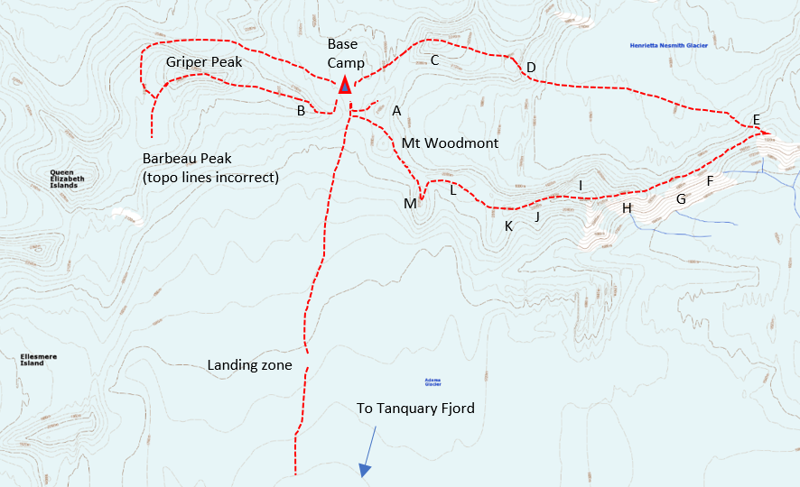 Map of first ascents near Barbeau Peak. The letters refer to previously unclimbed peaks, including A) Peak 2,258m, B) Peak 2,417m (continued to Griper Peak along the previously unclimbed east ridge), C) Peak 2,359m, E) Peak 2,016m, I) Peak 2,254m, M) Peak 2,246m, and N) Peak 1,893m.