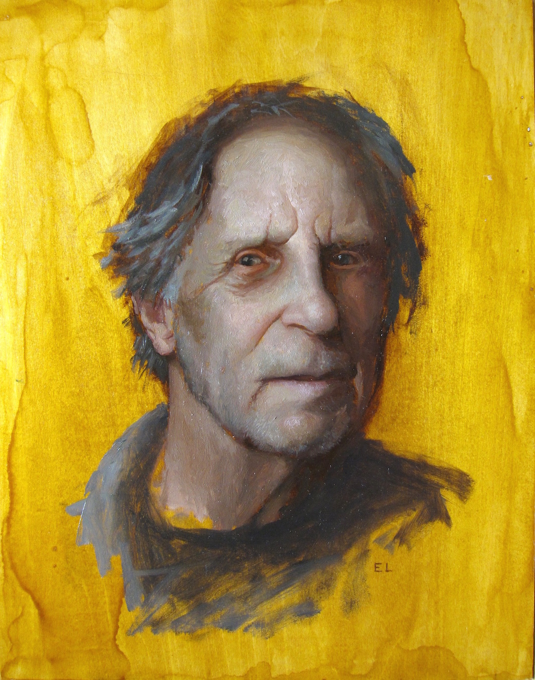 """Fred Beckey,"" original oil painting on wood panel, after a photo by Kris Stanton."
