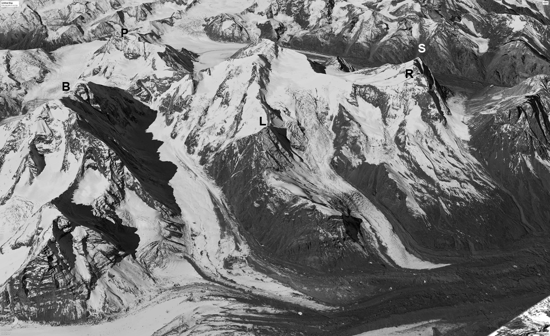 Looking west at (B) the Barnaj peaks, (P) Puita, (L) Lagan, (R) Rucho, and (S) unnamed Peak 6,019m.