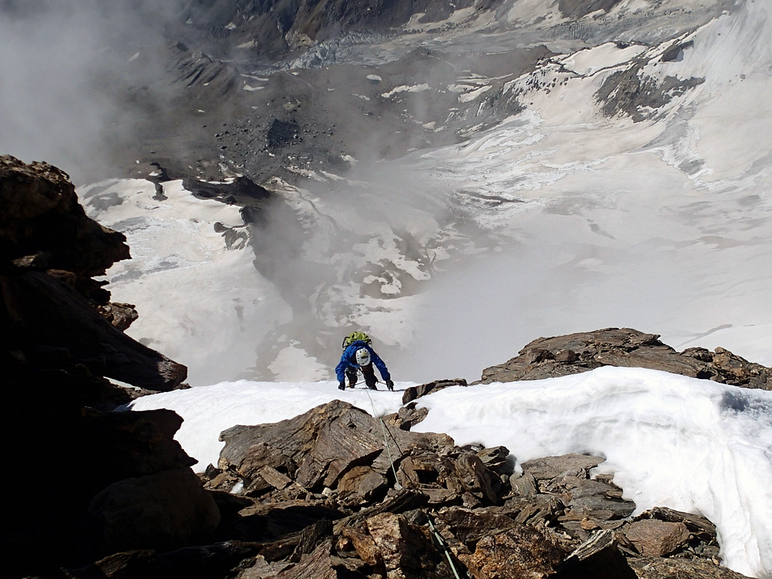 Takaaki Furuhata at ca 5,800m during the climb of the east face and south ridge of Rucho.