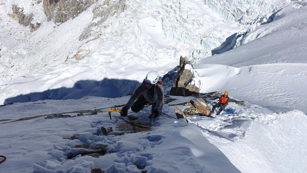 Climbing toward Camp 2 during an attempt on Sharphu I from the southeast.