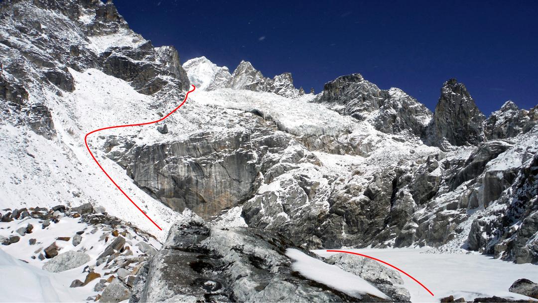 The approach to Sharphu I via the Sharphu Glacier to the southeast.