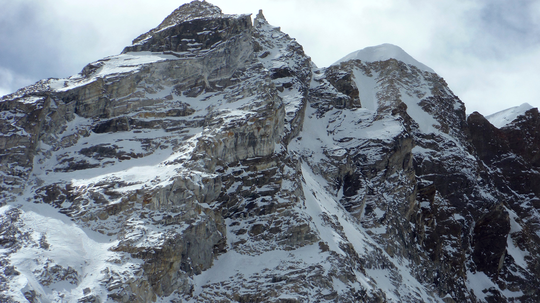 The east faces of Sharphu III and VI.
