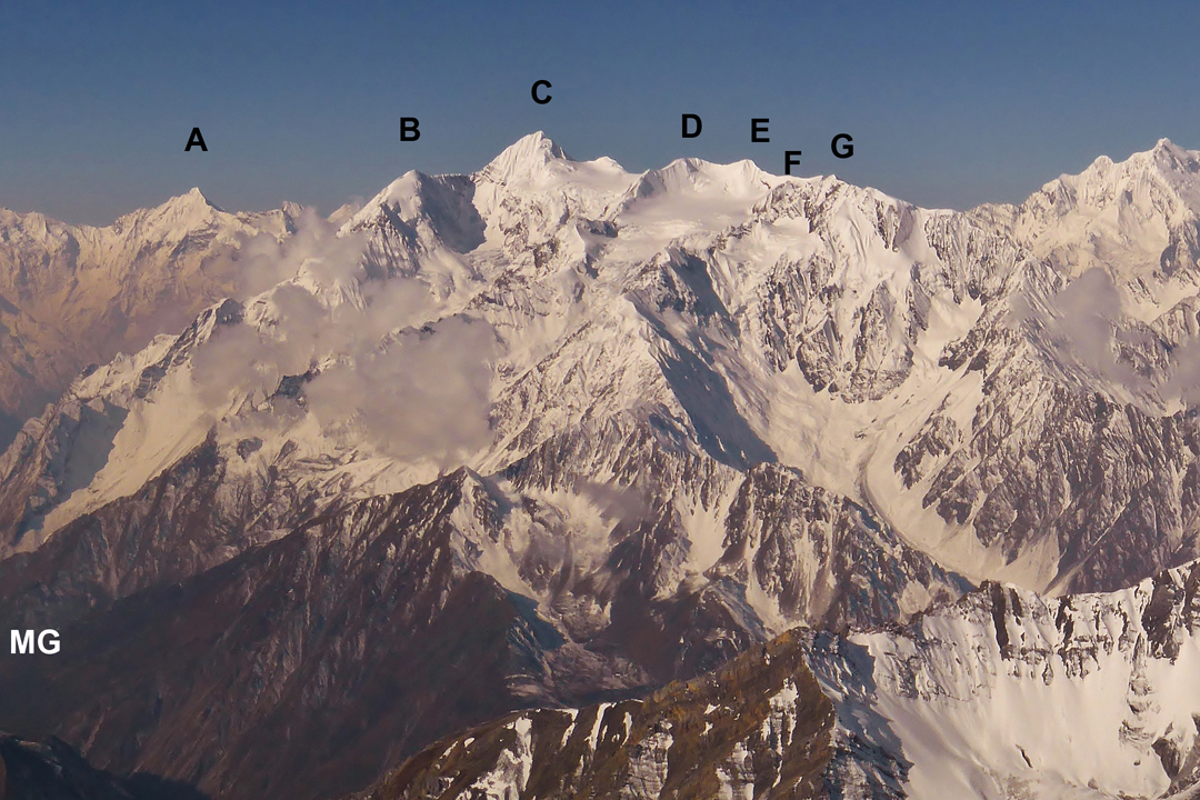 Seen from the Punchen Himal to the north: (A) Lumbo Himal (6,250m), (B) Langu Himal East (6,126m), (C) Langu Himal (6,425m), (D) Peak 6,210m, (E) unspecified summit of around 6,100m, (F) Tabsar southwest top (6,056m, climbed in 2017), and (G) Tabsar (6,065m). (MG) shows the approximate position of Mu Gompa (monastery) in the Tsum Valley. On the right edge of the picture is Peak 6,810m.