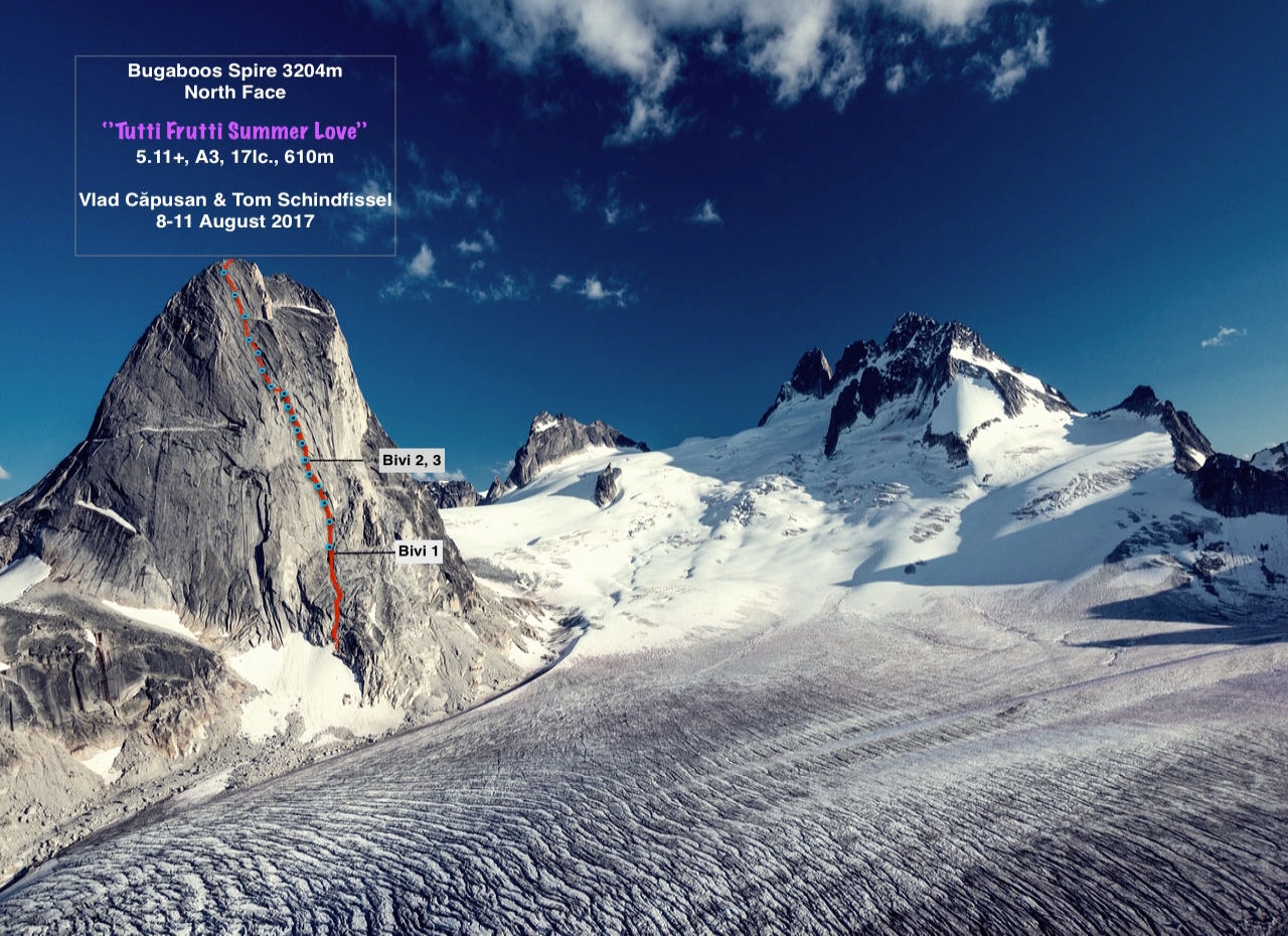 The route line for Tutti Frutti Summer Love on the north face of Bugaboo Spire, with the Vowell Glacier in the foreground and Pigeon Spire (left) and the Howser Towers in back.