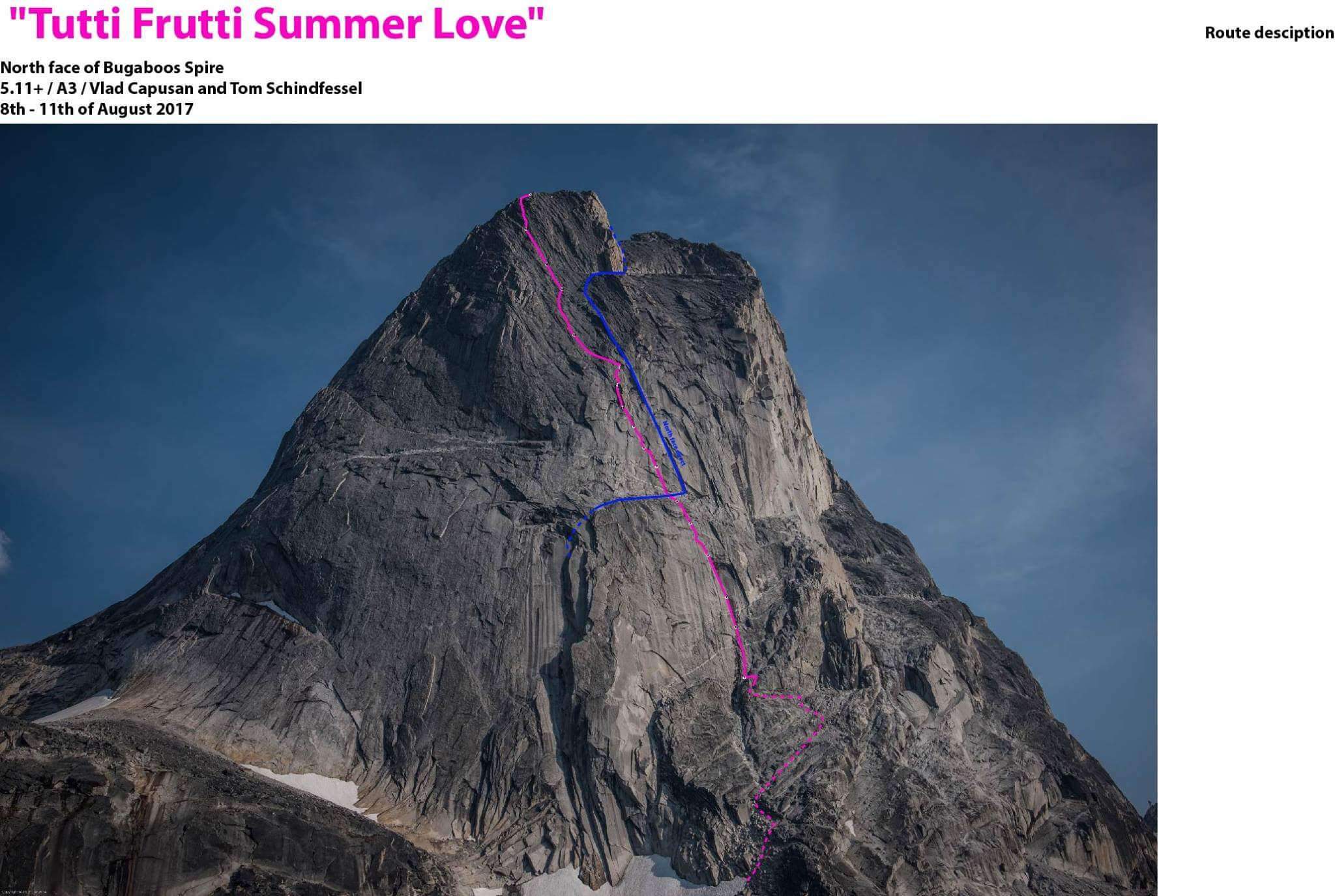 Pink line: Tutti Frutti Summer Love (2017). Blue line: upper North Face Route (Kor-Suhl, 1960).