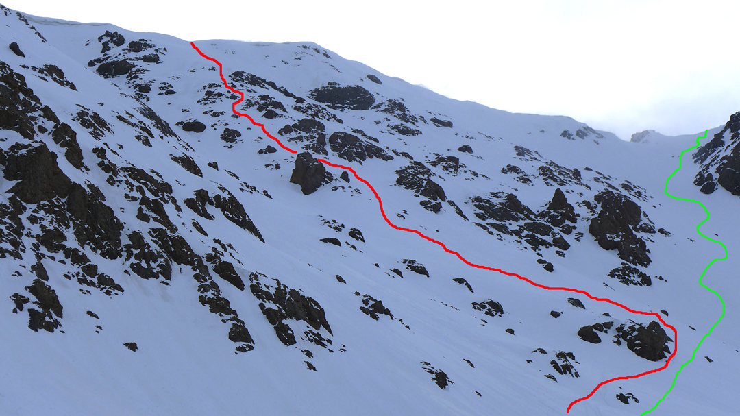 The east face of Halgurd (3,606m) leading to the summit ridge well south of the main summit. Red is the line of the 2017 ascent, while green marks the first complete ski descent.