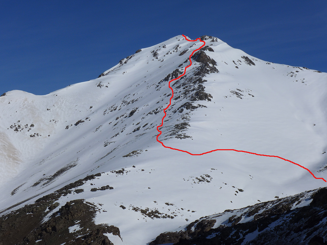 The route of ascent on Mamur (3,365m, F), northwest of Halgurd, climbed in 2014 for likely the first winter ascent.