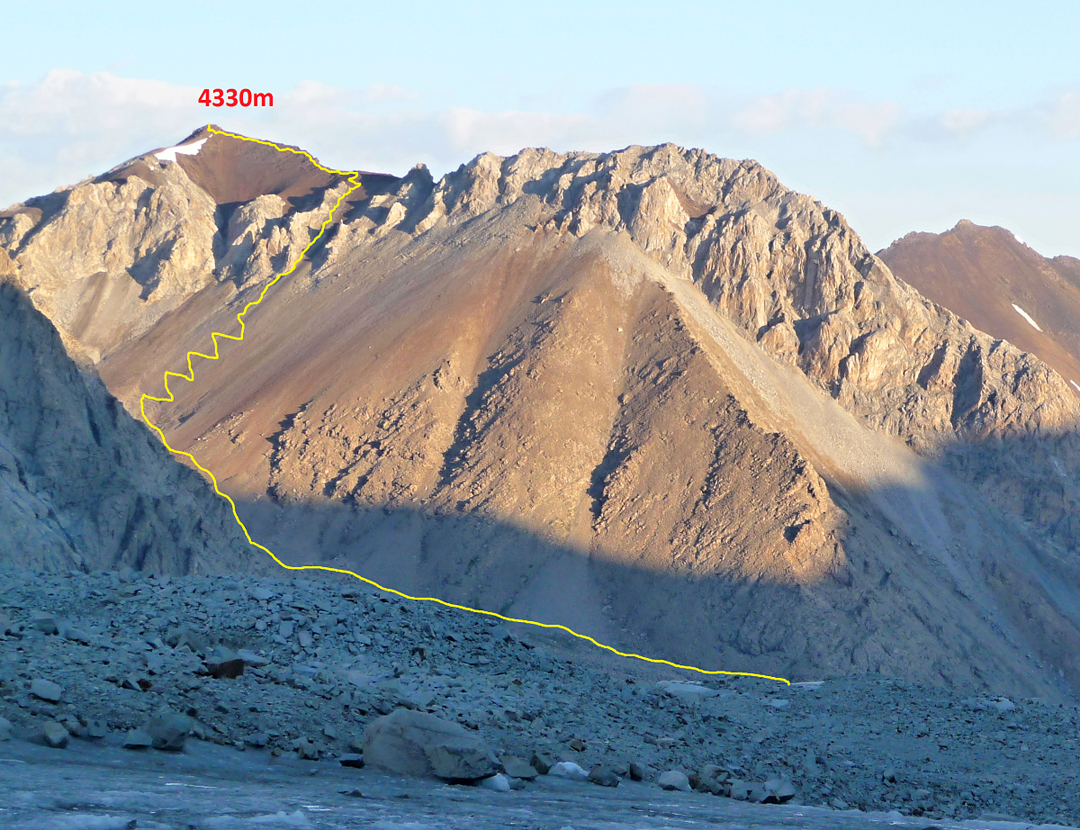 Pik Kamar (a.k.a. Djumas, 4,324m Russian map) and the route of ascent via the southeast-facing scree slopes and upper east ridge.