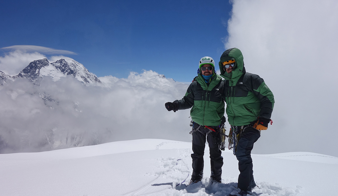 Alejandro Mora (left) and Andres Bosch on the summit of the southeast top of Praqpa Ri (7,046m GPS) with Broad Peak behind.
