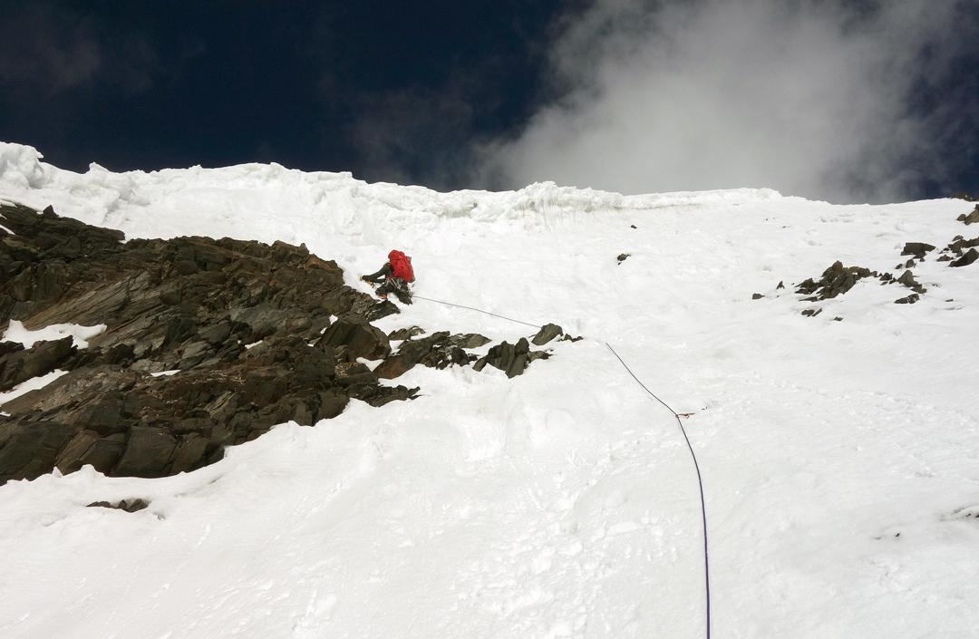 Alejandro Mora on the east-southeast ridge of Praqpa Ri.