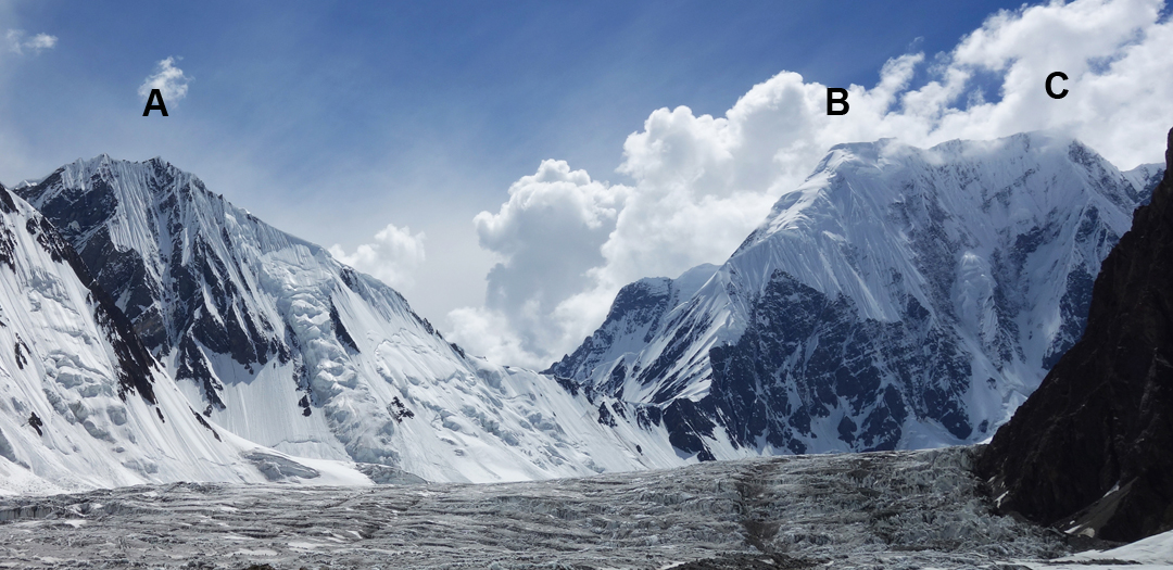(A) Khalkhal West. (B) Praqpa Ri southeast top. (C) Praqpa Ri (Central). Seen from the east across the Savoia Glacier.