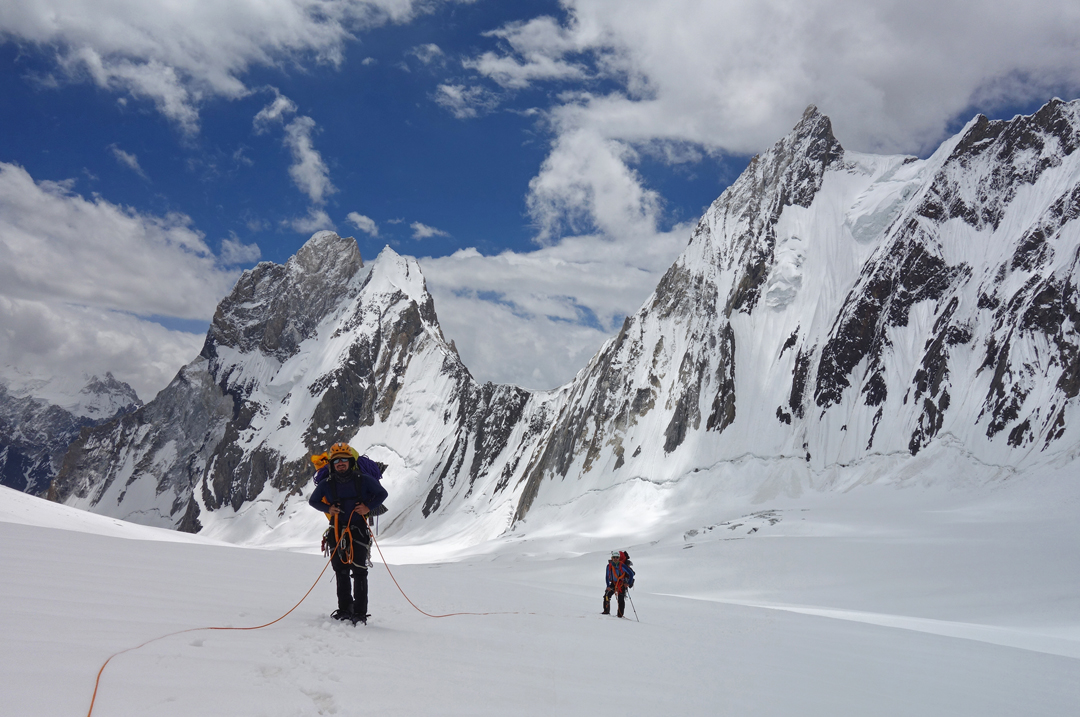 Alejandro Mora and Andres Bosch on the Khalkhal Glacier with Marble Peak (6,256m, left) and Crystal Peak (6,252m) behind.